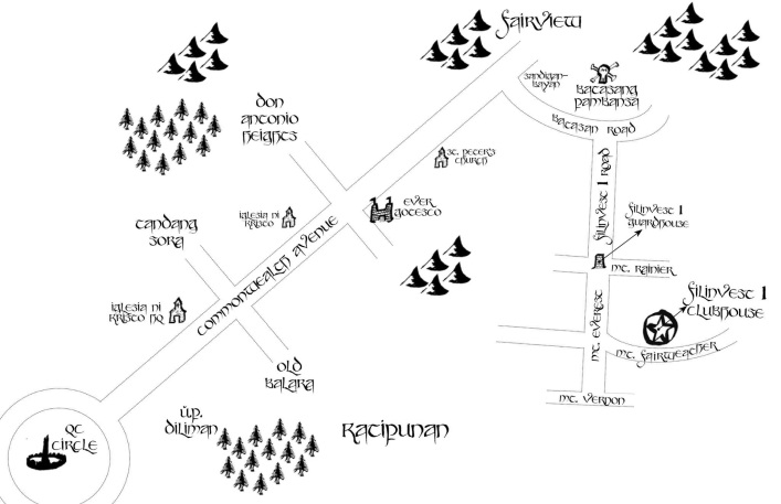 The ACTUAL map to the venue, which I posted on the FB event page. The Tolkienian icons were also downloaded from the Internet.