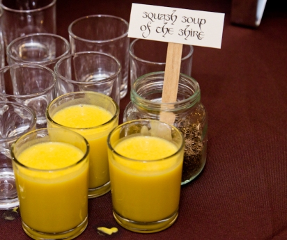Squash soup of The Shire, served in little shot glasses