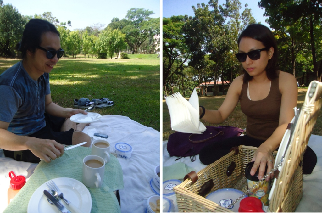 Picnicking in our favorite spot in Ateneo for our first wedding anniversary, way back 2010