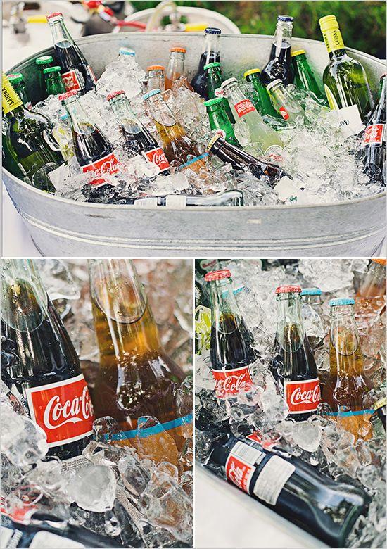 Buckets of softdrinks, beer, bottled water