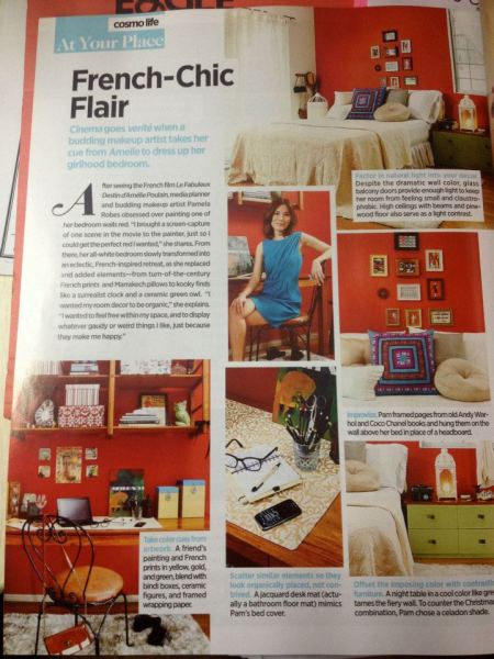 Pam's red boudoir, as featured in Cosmo's November 2012 issue