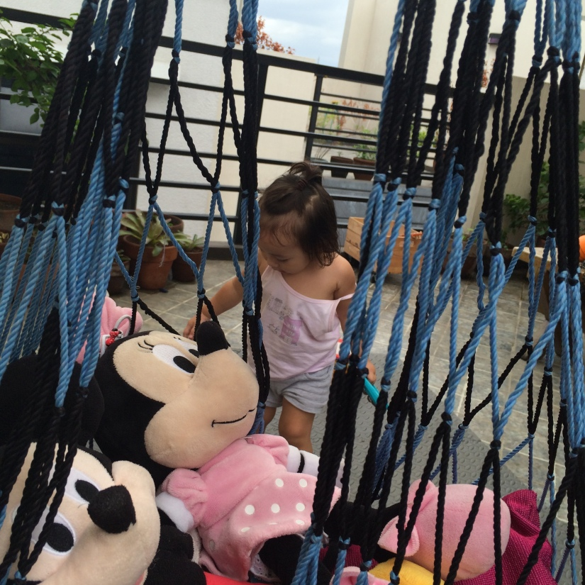 She told me to put Mickey and Minnie on the hammock