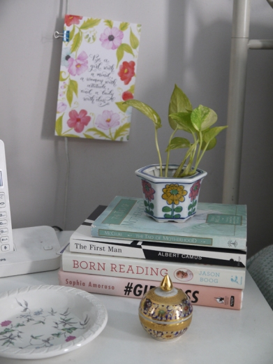 The tiny plant whose name I'll never know (unless you educate this ignorant plant parent. Anyway, I've had it for months now and while it's not exactly looking it's healthiest, it's survived, and to me, THAT'S WHAT MATTERS.)