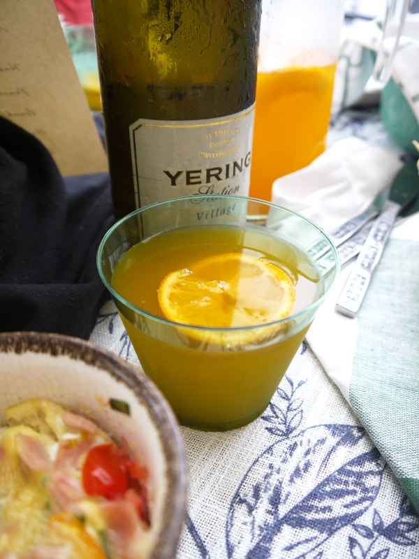 My orange riesling mimosa: more like Buck's Fizz, as it's equal parts OJ and wine. Hubby loved it!