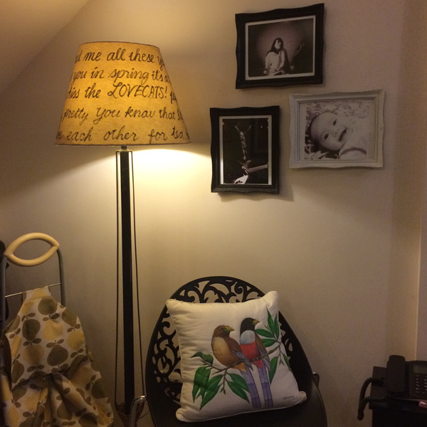 gal at home house tour script typography lampshade