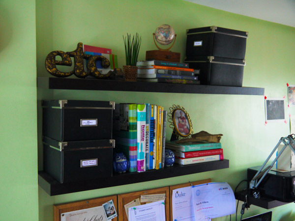 how to style home office shelves