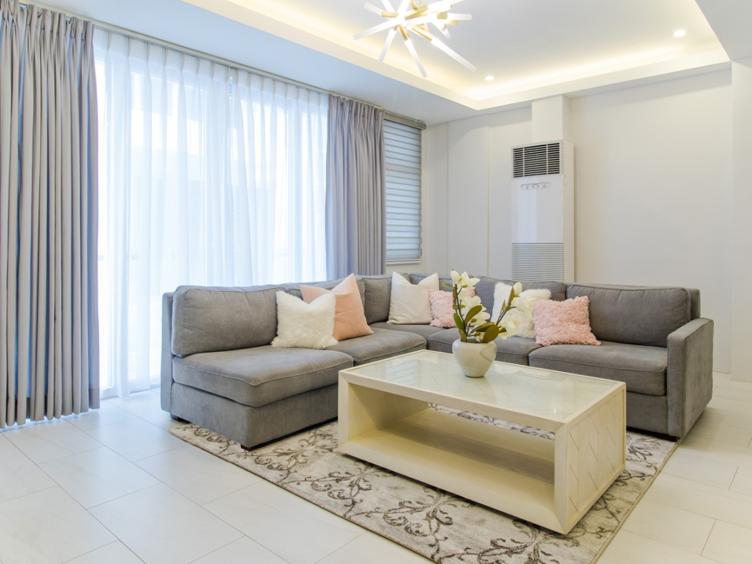 gray and pink living room